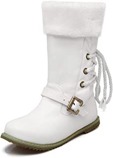 Women Faux Fur Snow Short Boot Manmade Leather Medal Buckle Low Heel Fashion Lace Up Ankle Booties