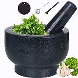 Juego de mortero y pilón de granito natural para guacamole molcajete para cocina,...