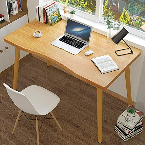 Mesa de escritorio de madera, mesa de ordenador, mesa de estudio, lectura de trabajo con patas de madera antideslizante, mesa de comedor para niños, adultos, 80 x 50 x 73 cm