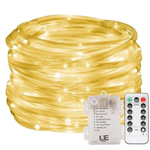 Tube Lumineux, EONHUAYU 5M 50 LED Dimmable Cordes Lumières avec Minuterie À Distance 8 Mode Batterie Corde Cordes Lumières Étanche pour Jardin Patio Partie Noël Décoration (Warm White)