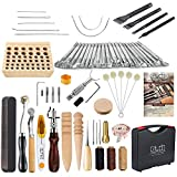 Caydo 67 Pieces Leather Craft Working Tools Kit with Instructions and Leather Tool Holder for Leather Crafting Beginners