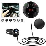 iitrust Transmetteur FM Bluetooth, Récepteur d'émetteur FM pour voiture, Kit voiture mains libres sans fil Support magnétique Musique Récepteur, Micro intégré,Chargeur de voiture USB,Appel Main Libre