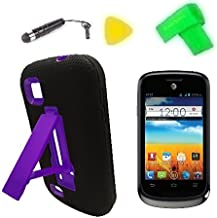 Heavy Duty Hybrid Phone Cover Case Cell + Extreme Band + Stylus Pen + Yellow Pry Tool for Verizon AT&T ZTE Avail 2 II Go Phone Z992 / ZTE Prelude Z993 (Black/Purple)