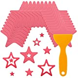 24 Pieces Non-Slip Bathtub Stickers Adhesive Starfish Shape Bath Treads Non Slip Traction to Tubs Bathtub Stickers Adhesive Decals Appliques with Scraper for Bath Tub Showers Pools Boats Stairs (Pink)