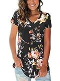 Womens Vintage Tops Short Sleeve V Neck T Shirt Floral Blouse Rose Black XL