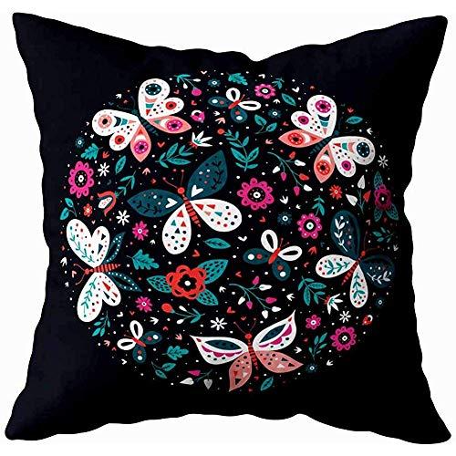 Tommy Warren Kissenbezüge Bunte Illustration mit Schmetterlings-und Blumen-Schablonen-Gruß-Karten-Einladung