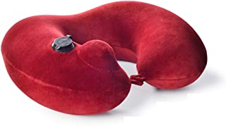 Pressing The Automatic Inflatable U-Shaped Pillow, Neck Pillow, Cervical Pillow, Travel Pillow, Portable Inflatable Pillow QYLOZ (Color : Red)