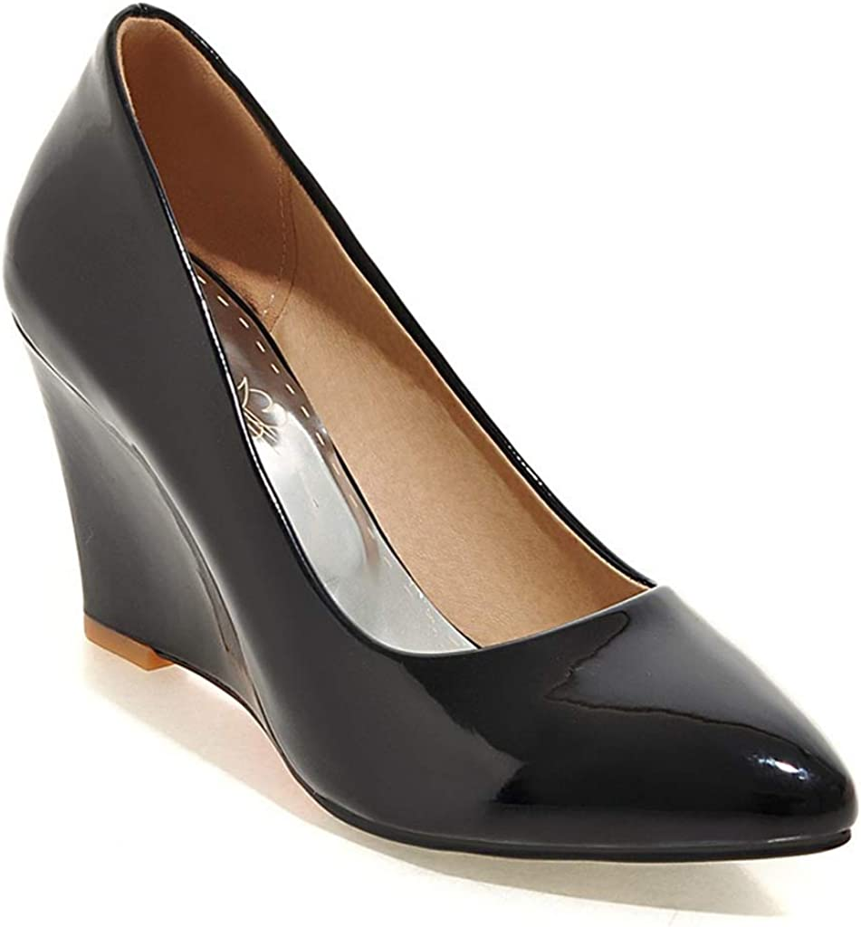MIOKE Women's Fashion Same day shipping Wedge High Heel Pointed Toe Patent L Pumps Max 40% OFF