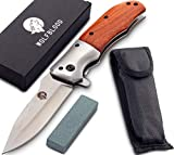 Wolfblood Klappmesser - extra scharfes Taschenmesser mit Schleifstein und Gürteltasche - Outdoor Messer aus speziell gehärteter...