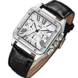 Gute Mens Watches, Mechanical Calendar Automatic Self-Winding Roman Numeral PU Leather Wrist Watch with Blue Hands