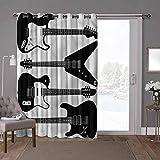 YUAZHOQI cortinas opacas para puerta de habitación, música, guitarras eléctricas, seis cuerdas, 100 x 200 cm de ancho x 84 pulgadas de largo cortinas de cristal para ventana (1 panel)
