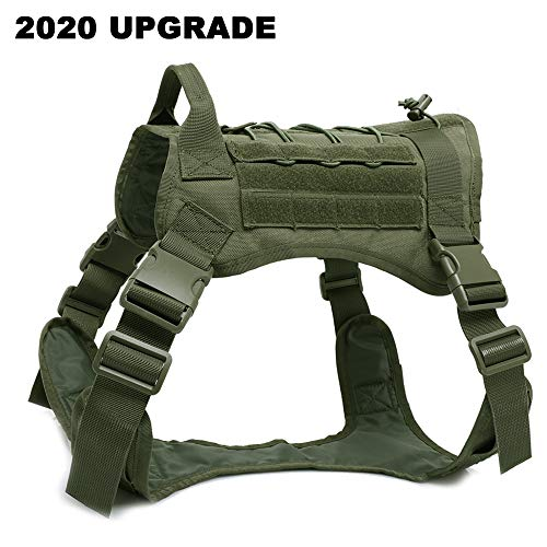 BMusdog Tactical Dog Harness Vest with Handle, Military Hiking Hunting Walking Dog Vest Adjustable Training 1000D Nylon Harness with Leash Clips(Green, L)