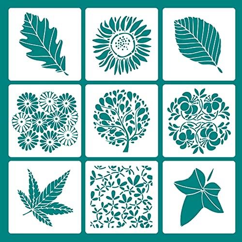9Pz Plantillas para Pintar Flores Plantillas de Pintura Reutilizables Plantilla de Plástico Plantillas de Dibujos para Niños Stencil Plantillas para Diario Libro de Recorte Arte Creativos 13x13cm