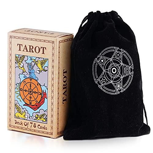 Unilive Cartas de tarot con guía y bolsa de terciopelo negro, tarjeta de tarot clásica original para principiantes