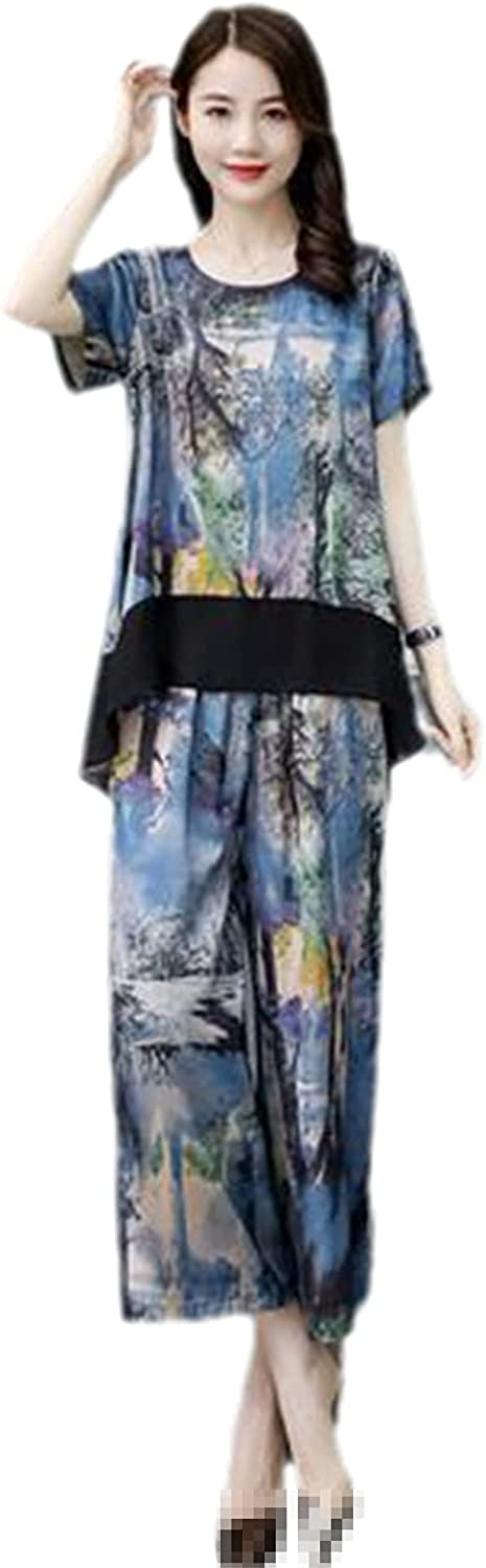 Plus Size Middle-Aged Women 2 Piece Set Loose Casual Short-Sleeve Print Top and Wide Leg Pants Suits Women Sets