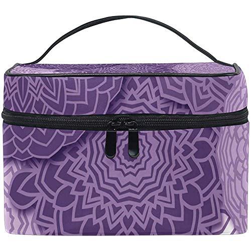 Estuche de Tren de Maquillaje Grande Mandala púrpura Boho con Cremallera portátil Organizador de Bolsa cosmética BMakeup