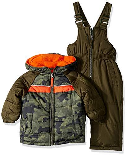iXtreme Baby Boys Active Colorblock Snowsuit, Olive, 12M