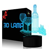 Wine Cup Bottle Night Light Touch Switch Table Desk 3D Optical Illusion Lamp, YKLWORLD USB Powered 7 Color Changing Acrylic Flat Lights Birthday Gift Toys Home Bedroom Bedside Bar Decoration