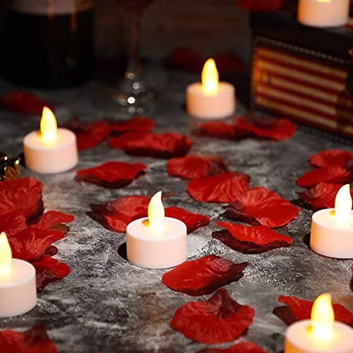 24 Pack Flameless LED Tea Light Candles, Realistic Flickering Tealights, Battery-Powered Candles Lights Holiday Gift for Wedding Party Home Valentines Decoration (Set4)