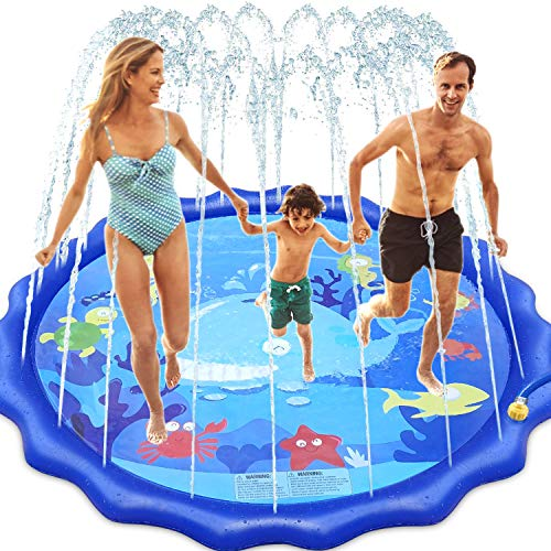 INNOCHEER Sprinkler Splash Pad for Kids Outdoor Play, 68 Inch Extra Large Children's Sprinkler Pool Water Wading Pool Summer Toys for Boys Girls 3+ Years Up