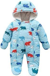 Zimowy kombinezon śniegowy dla małych dzieci, jednoczęściowy kombinezon z rękawiczkami, śpioszki, dla chłopców i dziewczynek