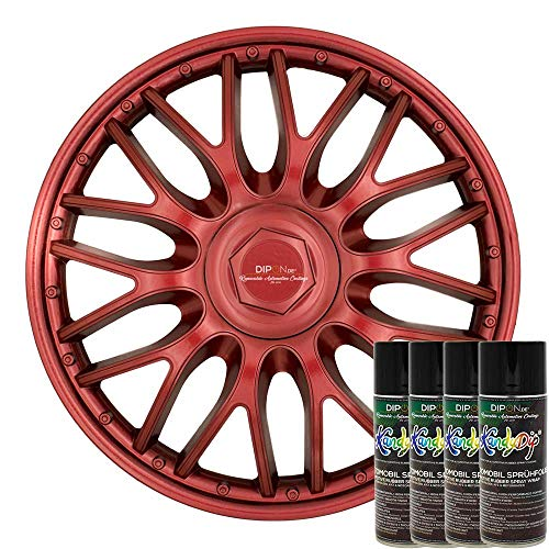 KandyDip® Sprühfolie True Candy RED Flüssiggummi Felgenfolie Spraydosen Sets+2K, (4 x Effekt, Matt)