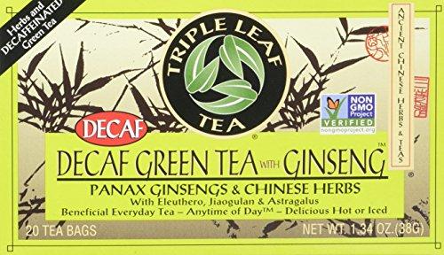 Triple Leaf Tea, Decaf Green Tea with Ginseng, 20 Tea Bags (Pack of 6)