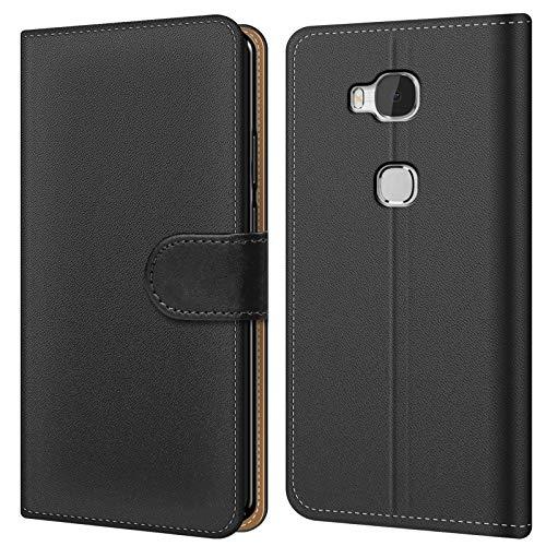 Conie BW3067 Basic Wallet Kompatibel mit Honor 5X, Booklet PU Leder Hülle Tasche mit Kartenfächer & Aufstellfunktion für Honor 5X Case Schwarz