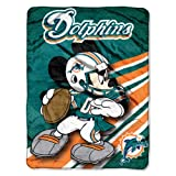 The Northwest Company Officially Licensed NFL Miami Dolphins Co Mickey Mouse Micro Raschel Throw Blanket, 46' x 60', Multi Color