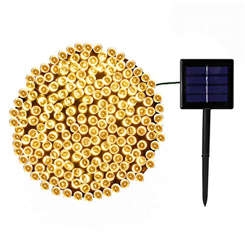 QINOL Solar Christmas Lights - Brighter, Durable, Waterproof - 200 LED Solar String Lights Outdoor, 8 Modes Fairy Lights for Christmas Tree Decorations Garden Party (Warm White)