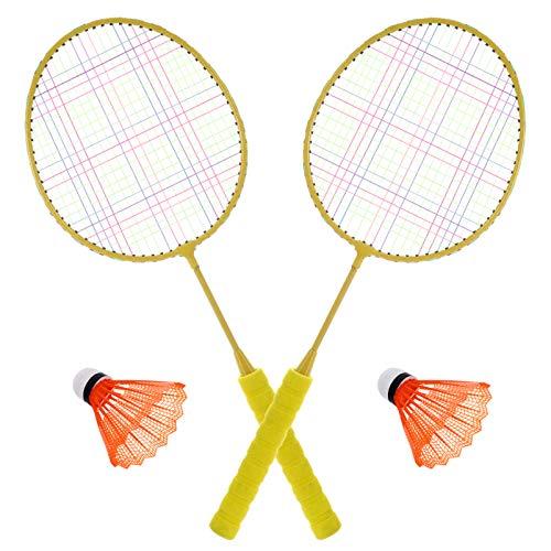BESPORTBLE 1 Juego de Raquetas de Tenis de Bádminton para Niños con 2 Bolas Juego Deportivo para Niños Juguete para Niños de 3 a 12 Años Amarillo