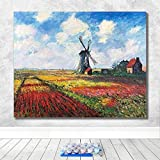 DIY Digital Painting Paint Set Painting Monet Famous Painting Hand Painted Decompression Decoration Hanging -40X50CM-Framed