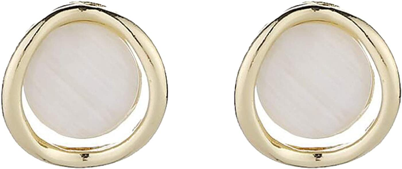 Retro Clip on Earrings for Women Girls Gold Tone Double Round Opal Dangle Drop Vintage Statement Fashion