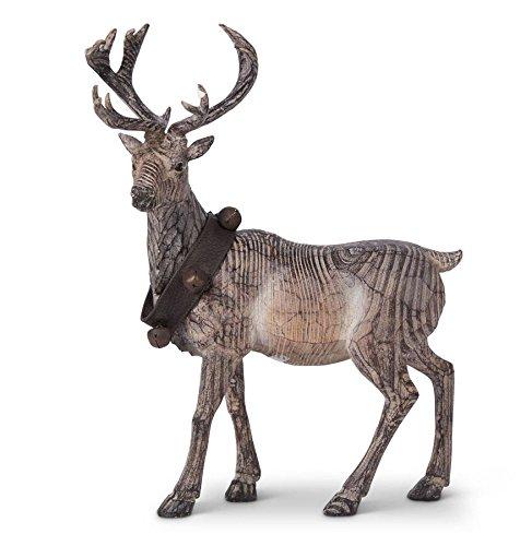 K&K Interiors Carved Resin Standing Reindeer w/Bell Collar