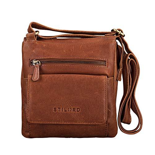 STILORD 'Leon' Schultertasche klein Leder Herren Damen Umhängetasche Vintage Handtasche Ledertasche Crossbody Herrentasche, Farbe:Cognac - braun
