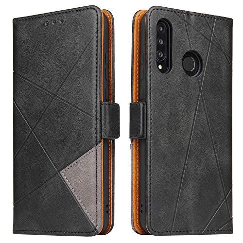 BININIBI Handyhülle für Huawei P30 Lite Hülle, Huawei P30 Lite Lederhülle Handytasche, Klapphülle Tasche Leder Schutzhülle für Huawei P30 Lite (Schwarz)