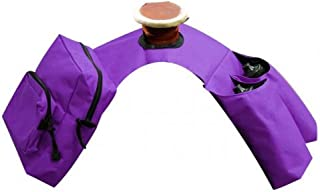 Showman PURPLE Insulated Cordura Trail Riding Horn Saddle Bag 2 Zipper Pockets and 2 Water Bottle Holders WITH Water Bottles