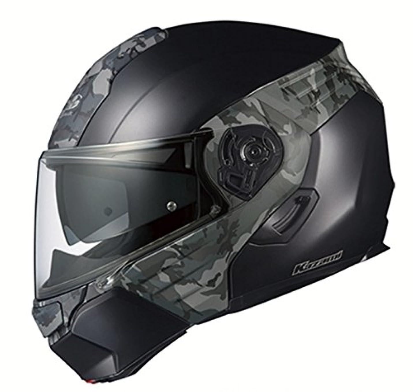 喪スキームビーチオージーケーカブト(OGK KABUTO)バイクヘルメット システム KAZAMI CAMO(カモ) フラットブラック/グレー (サイズ:L) 571672