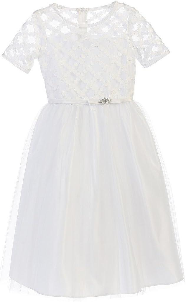Sweet Kids White Cross Hatch Tulle First Communion Girls' Dress