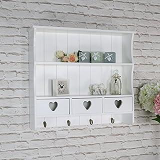 Estantería de pared grande blanca con cajón de almacenamiento en forma de corazón.
