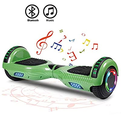 "FLYING-ANT Hoverboard Self Balancing Scooters 6.5"" Flash Two-Wheel Self Balancing Hoverboard with Bluetooth Speaker and LED Lights for Kids and Adults Gift(Carbon Green)"