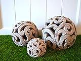 DEKO Kugel Keramik Dekokugel ca. 17cm grau-braun Gartendeko Beetdeko Pflanzdeko Windlicht Shabby rustikal Vintage Ornament Garten Tischdeko Frühling Sommer - 4