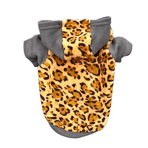 bismarckbeer Puppy Hund Hoodie Kleidung Leopard-Druck Kurz Ärmel Winter Warm Samt Kleidung