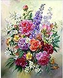 5D-Diamant-Gemälde zum Selbermachen, bunte Blumen, Blumenstrauß-Gemälde, Kreuzstich,...