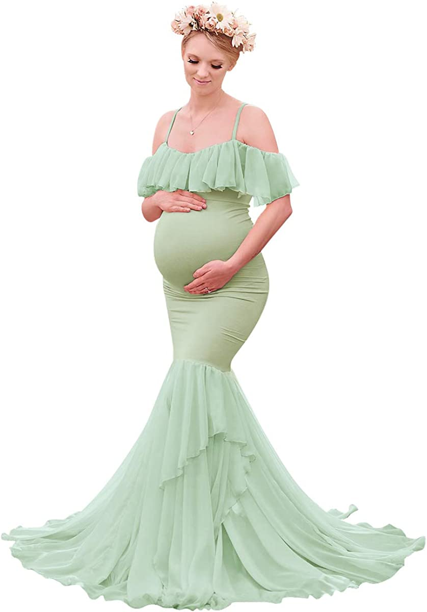 FYMNSI Maternity Off Shoulder Photo Shoot Dress Elegant Ruffle Fitted Gown Spaghetti Strap Slim Mermaid Maxi Long Photography Dress Wedding Evening Party Baby Shower Pregnant Women Clothing