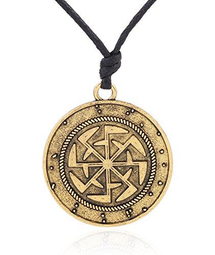 Collana con ciondolo rotondo rappresentante il simbolo slavo Kolovrat che denota il movimento eterno del sole. Gioiello con amuleto, unisex, alla moda e Lega, colore: Gold