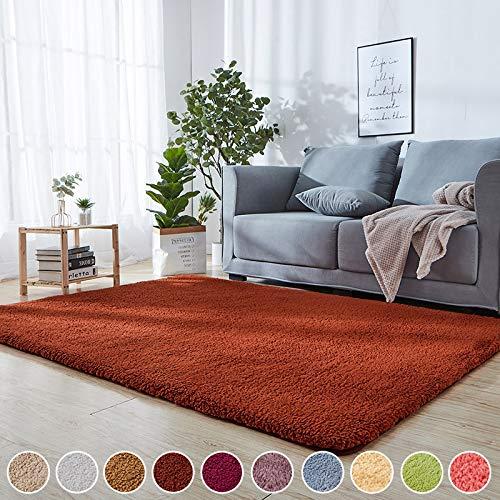 Wohnzimmer Carpet Brown 140 x 180 cm Teppiche Hochflor Shaggy Flauschig Weiche 8 Teppichgreifer Antirutschmatte für Schlafzimmer, Esszimmer, Flur