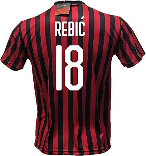 3rsport Maglia Milan Rebic 18 Replica Autorizzata Bambino (Taglie-Anni 2 4 6 8 10 12) Adulto (S M L XL) (10/11 Anni)