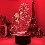 Luz nocturna 3D de los niños de la luz de la noche de regalo led sensor táctil colorido dormitorio luz nocturna anime cazador X Hunter Decoración Luz fresca 3D lámpara Hisoka Gadgets ZGLQ