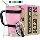 North Pink Stainless Steel Tumbler 5-Piece Set, 30 oz Vacuum Insulated, Travel Mug For Home, Office, School – Like Yeti Tumbler For Ice Drink & Hot Beverage